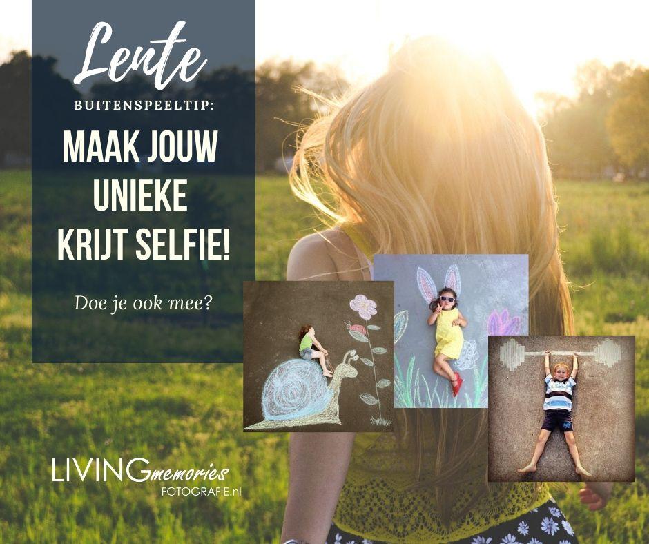 Kinderen thuis, buitenspeeltip: maak jouw unieke stoepkrijt selfie